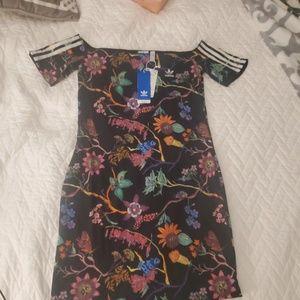 Adidas Reversible Floral BlackOff Shoulder Dress M